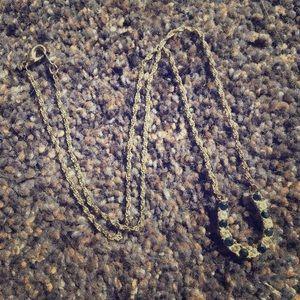 Rhinestone & Blue Stone Horseshoe Necklace